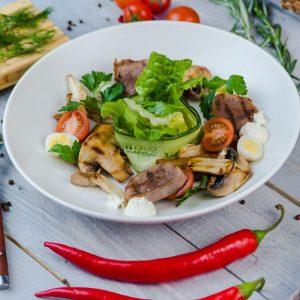 Микс салат с языком и грибами