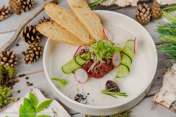 Тартар из оленины с хрустящими гренками, сырным муссом, огурцом и редисом
