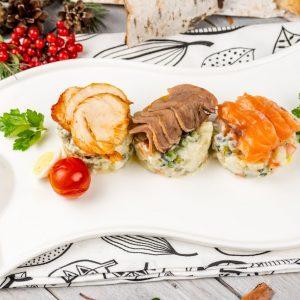 Трио Оливье с лососем, курой и языком