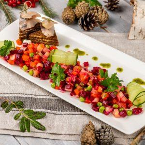 Винегрет с сельдью из печеных овощей